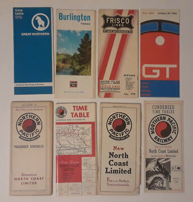 Lot of GTW, Great Northern, Burlington, Frisco, Northern Pac Railroad Timetables