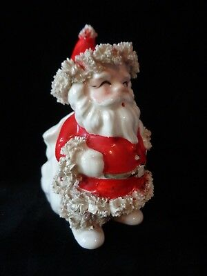 "Vintage Christmas Santa Planter Spaghetti Trim ""Good Wishes"" Toy Bag"