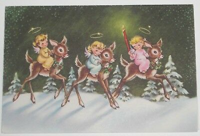 Vintage Pretty Angel Girls Riding Deer Reindeer Snowy Trees Christmas Card