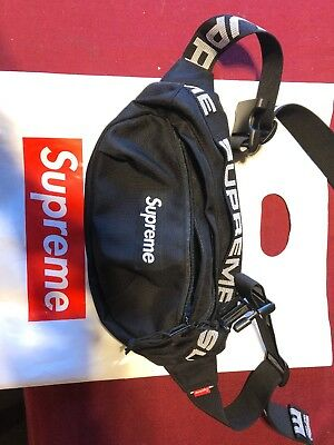 24a8c0beb236 SUPREME WAIST BAG Black Ss18 2018 White Box Logo Cordura Fanny Pack ...