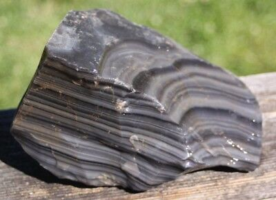 8x5x4 inch 5 pound,Natural Rough Obsidian,heavy banding,Knapping,cabbing,Tumble