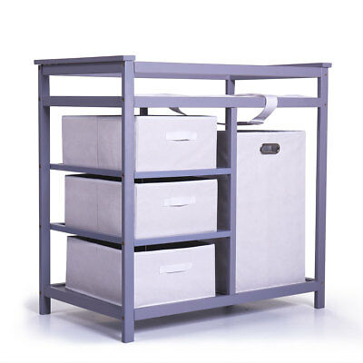 Badger Basket  Wood Modern Diaper Changing Table with Baskets and Hamper Gray