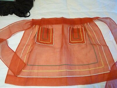 Vintage Bright Red Organdy Apron