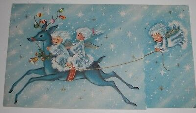 Vintage MCM Christmas Card Angel Girl  Blue Reindeer Antler Ornaments Embossed