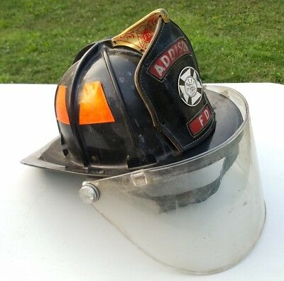Vintage Cairns 880 Fire Helmet W/ Bourkes Eye Shield & Leather Front Piece Rare!