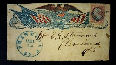 26 Civil War Patriotic  - VF Overall Eagle & Crossed Flags - Frankfort, KY