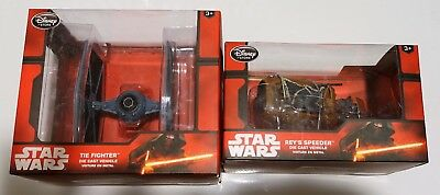 Star Wars Disney Store Die Cast TIE Fighter and Rey's Speeder