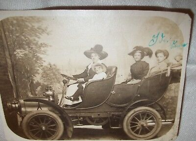 """Vintage Photo 4 Girls In Antique 1906 Cadillac  Automobile On Post Card  3"""" X 4"""""""