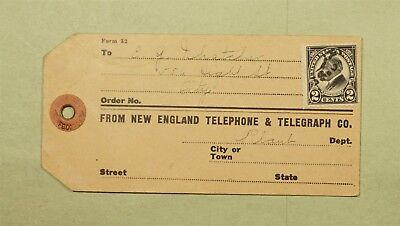 DR WHO MA CANCEL NEW ENGLAND TELEPHONE CO PARCEL POST TAG  d37296