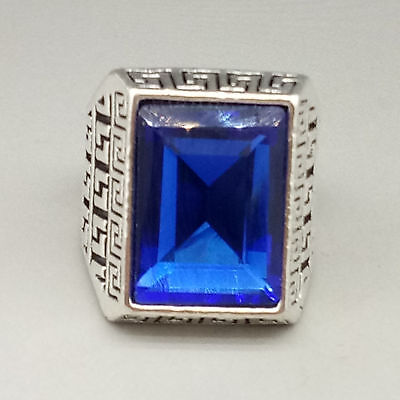 Chinese Exquisite Tibetan silver Inlaid Sapphire  National Fashion Ring