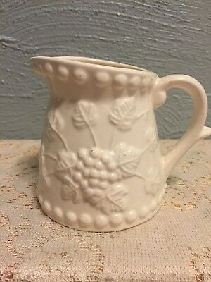 Vintage Ceramic Napcoware Grape Cluster Relief Creamer Pitcher White Japan 3.5""