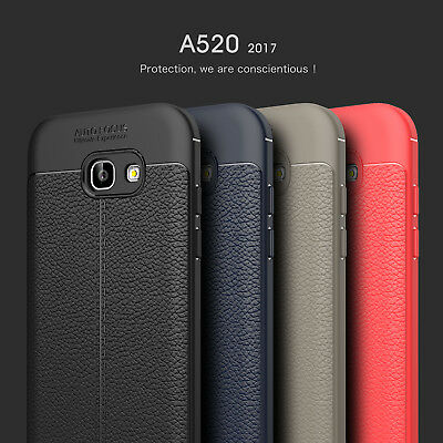 For Samsung Galaxy A3 A5 A7 2017 ShockProof Rubber Slim TPU Leather Case Cover