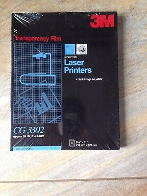 """3M CG 3302 Transparency Film for Laser Printers (sealed); 50 sheets; 8.5""""x11"""""""