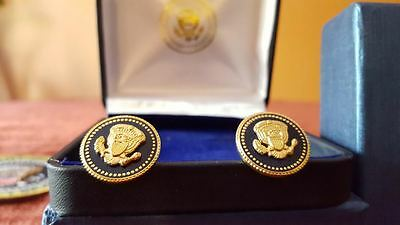 Donald Trump Presidential Vip 24K Gold Plated Blue Cobalt Cufflinks