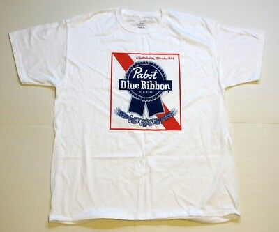 Pabst Blue Ribbon Beer Label T-Shirt White Classic New Mens XL