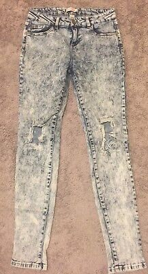 Womens Refuge Acid Wash Distressed Slim Skinny Jeans Size 6 Stretchy 28x30