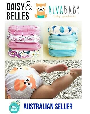Alva baby cloth nappy pack - 4 pocket nappies with microfibre inserts included