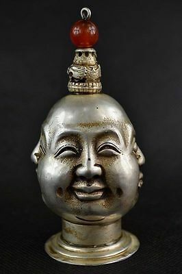 CHINESE OLD copper plating silver CARVING 4 FACE BUDDHA SNUFF BOTTLE c01