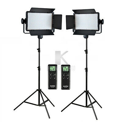 2x Godox LED500C Panel 3300-5600K Bi-color Video Light 2.8m Stand Lighting Kit