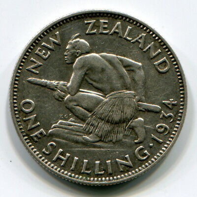 New Zealand, 1934 Shilling, About Vf