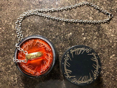 Rare Lord of Rings ring necklace with lit case