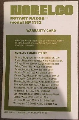 PHILIPS NORELCO Rotary Razor HP 1312 Warranty Card/Questionnaire 1977 VINTAGE