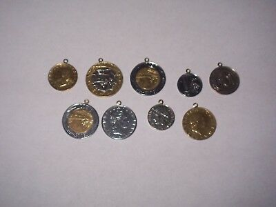 Italian lira coin charms, 9 with bales for bracelet or necklace, 14kt bales ?