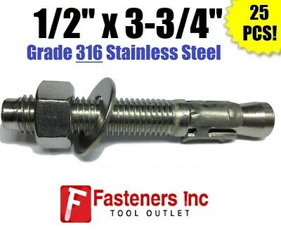 """(QTY 25) 1/2"""" x 3-3/4"""" Concrete Wedge Anchor Stainless Steel GRADE 316 1/2-13"""