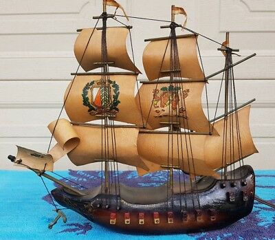 """Vintage """"the Mayflower"""" Wooden Sailing Ship Electric Lamp ~ Made In Holland"""