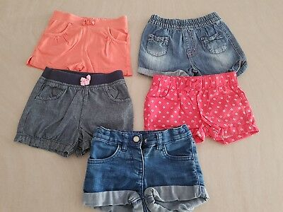 5 x Pairs Girls Shorts, Denim - Size: 1 - In excellent worn condition