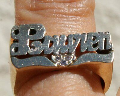 "Antique Gorgeous Brass & Gold "" Lauren Carved ""  Wide Band  Ring Stamped"