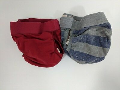 gDiapers Size Large lot of (2) With Plastic Liners Red Grey Blue Striped