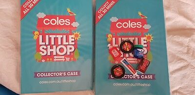 2 Coles Little Shop folders and x6 collectables