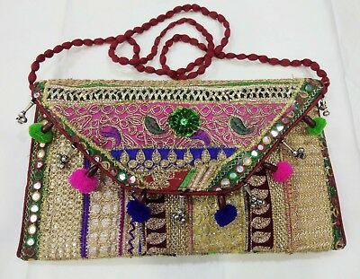 2018 New Indian Mirror Style Handmade Banjara Patchwork Embroidered  Clutch Bag