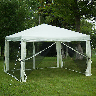 10'x10' Patio Gazebo Outdoor Canopy Pop Up Wedding Party Tent with Mosquito Net