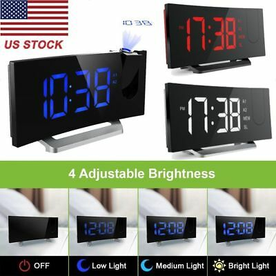 Mpow Projector Arc-shaped Projection Alarm Clock Digital Time Weather Snooze LED