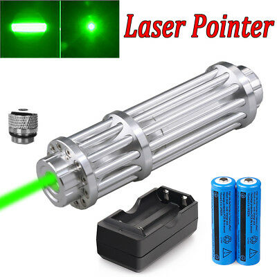Military 532nm 1 W Laser Pointer Pen Green Zoom Visible Beam Light+18650+Charger