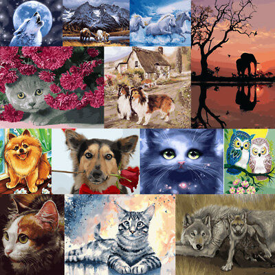 Painting DIY Acrylic Paint By Number Kit Art Home Wall Decor Animals Santa Gift