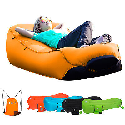 Inflatable Lounger Portable Air Beds Sleeping Sofa Couch Travelling Pool Beach