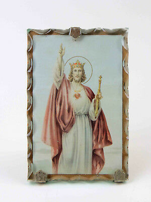 Vintage Scalloped Glass Framed Religious Jesus Picture