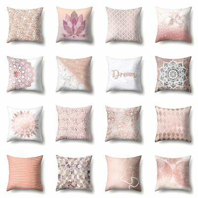 Throw Pillow Case Geometric Striped Flower Pink Home Sofa Cushion Cover Decor