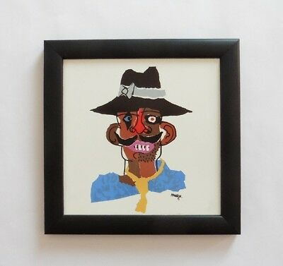 CESAR MANRIQUE 1919 - 1992 SIGNED LOCAL SPANISH MAN TILE framed LANZAROTE SPAIN
