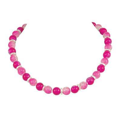 Dominica Fuchsia Pink Czech Crackle Glass Bead Silver Tone Necklace