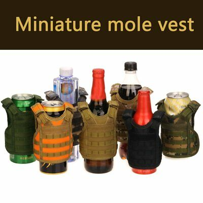 Molle Mini Miniature Vests Beverage Cooler Cover Adjustable Shoulder Straps W0
