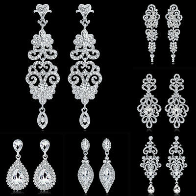 Diamante Silver Crystal Long Hanging Dangle Drop Earrings Women Wedding Jewelry