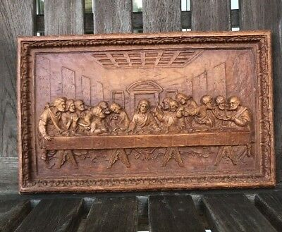 Vintage Last Supper Raised Relief 3D Wood Wall Plaque Burwood Product USA