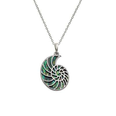 Call of the Sea Paua Shell Ammonite Silver Tone Pendant Necklace