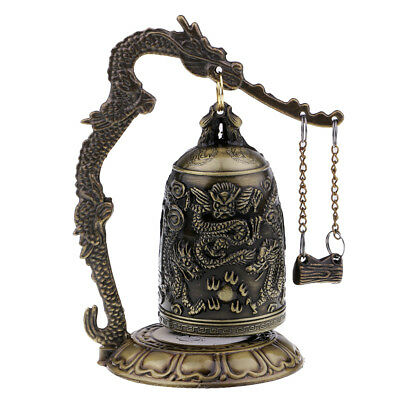 Vintage Bronze Chinese Feng Shui Dragon Hand Bell Hanging Prosperity Bell