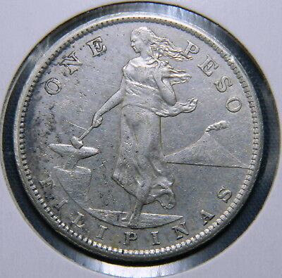 1908S Philippines Filipinas USA 1 One Peso 90% Silver EF