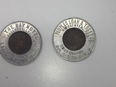 Early Indiana Encased Cents 1910-1913 A Pair